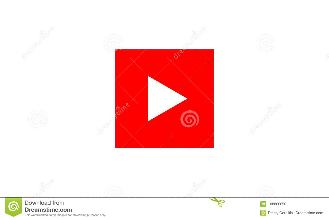 Red Play Vector Logo Icon Buttonyoutube Flat Social Media Stock