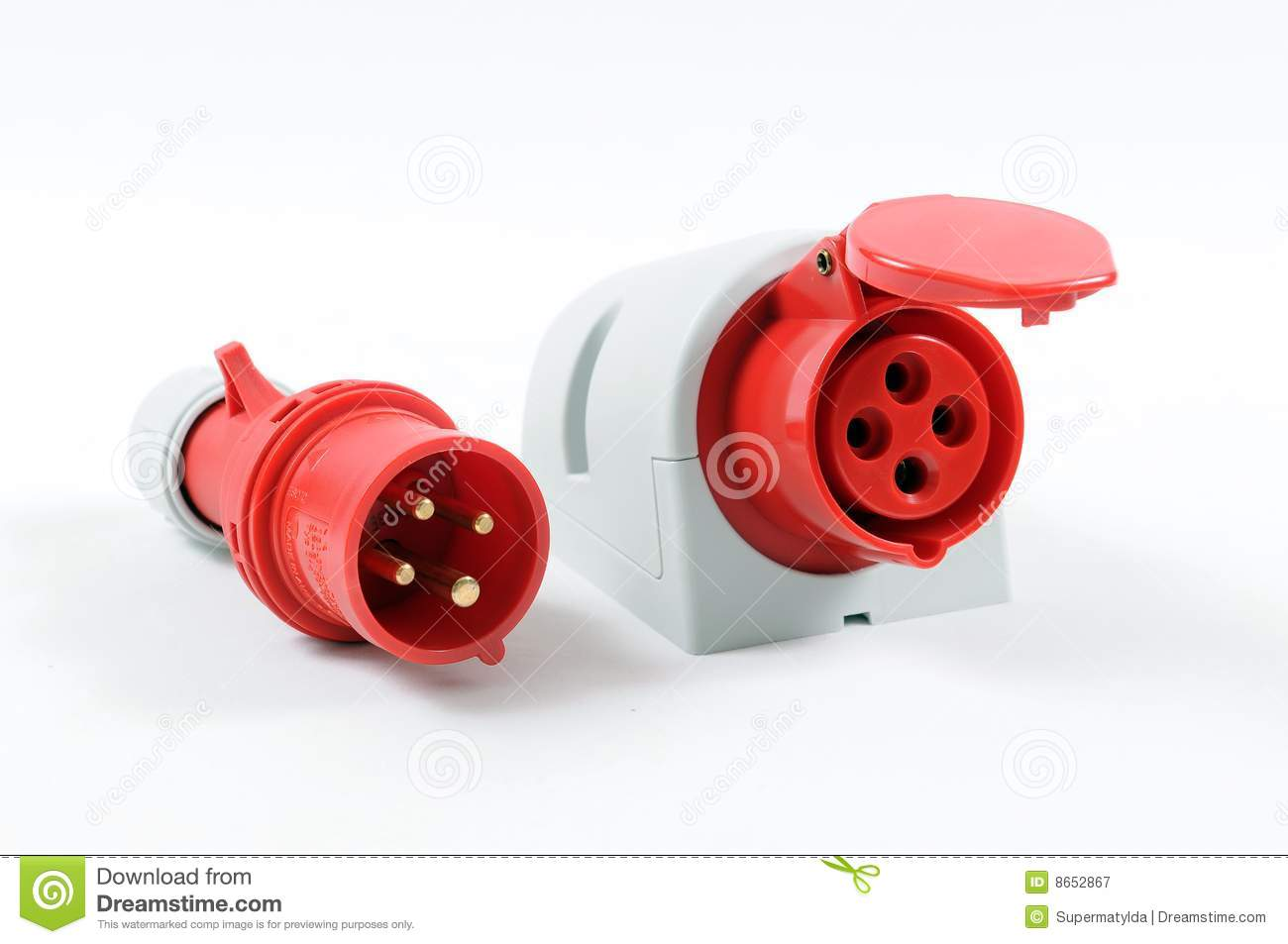 Red plug and socket