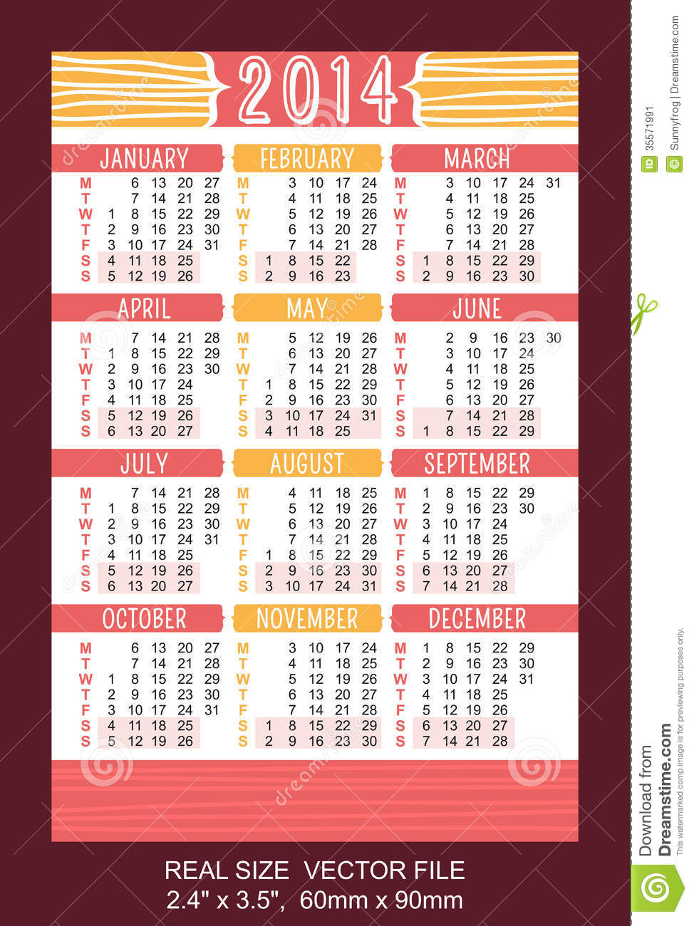 Red Pocket Calendar 2014 VECTOR SIZE: 2.4 Stock Image - Image ...