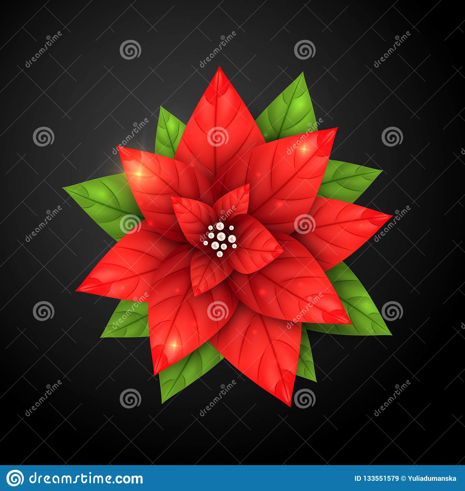 Realistic Poinsettia Flower And Pearl Red Star Plant For Merry