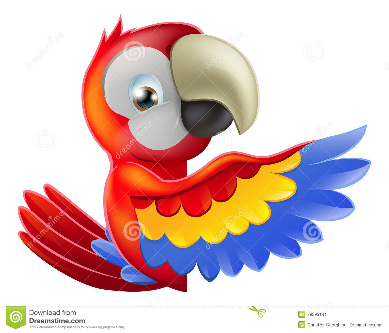 red pointing cartoon parrot stock vector image 29593141 Pink Macaw Scarlet Macaw Flying Clip Art