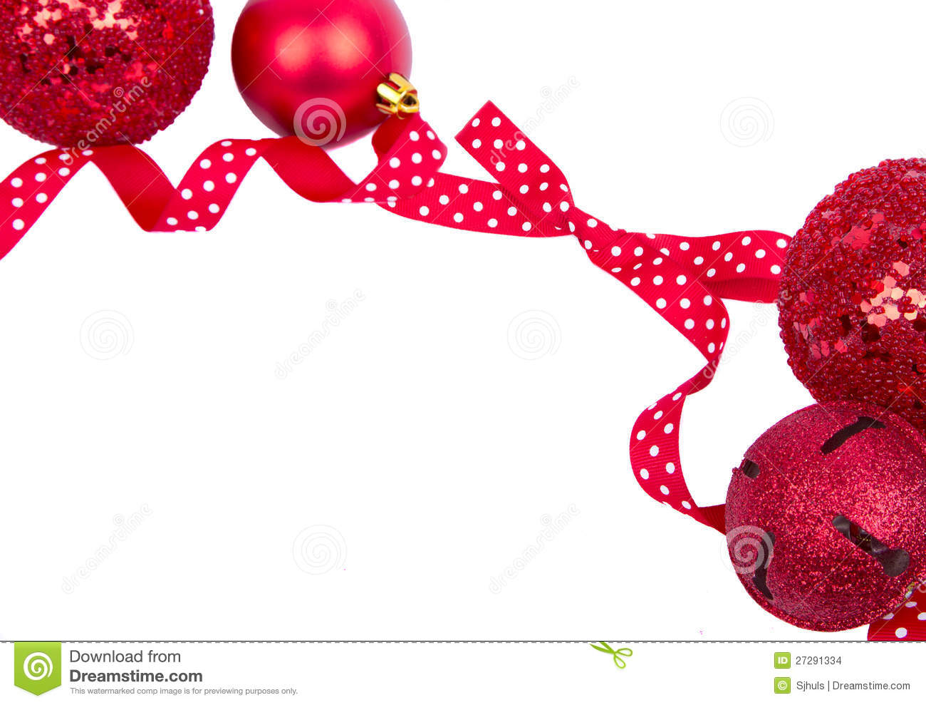Polka dot christmas ornaments - Red Polka Dot Bow With Christmas Ornaments