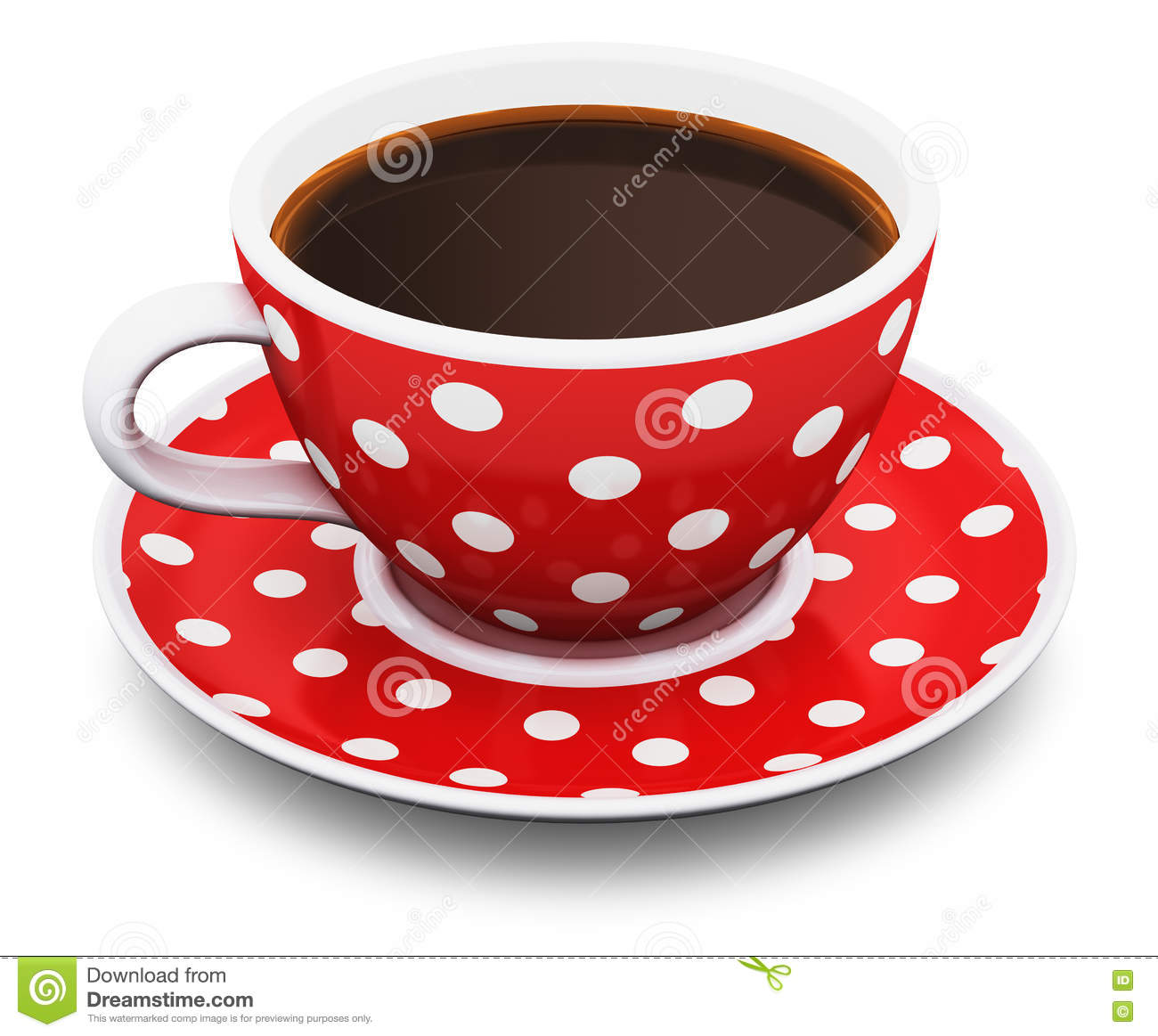 Red polka dot coffee cup stock illustration. Illustration of coffee ...