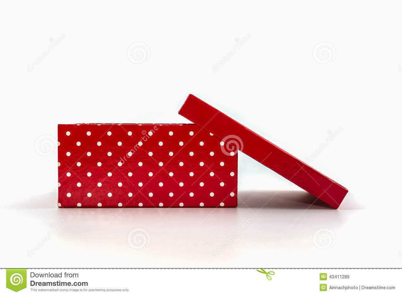 Red polka dots box, with clipping path.