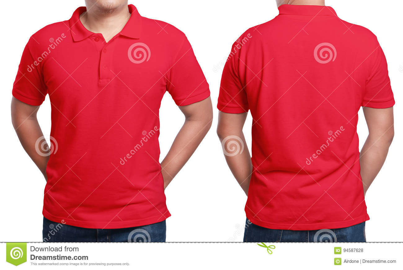 13c9f8c81 Red polo t-shirt mock up, front and back view, isolated. Male model wear  plain red shirt mockup. Polo shirt design template. Blank tees for print
