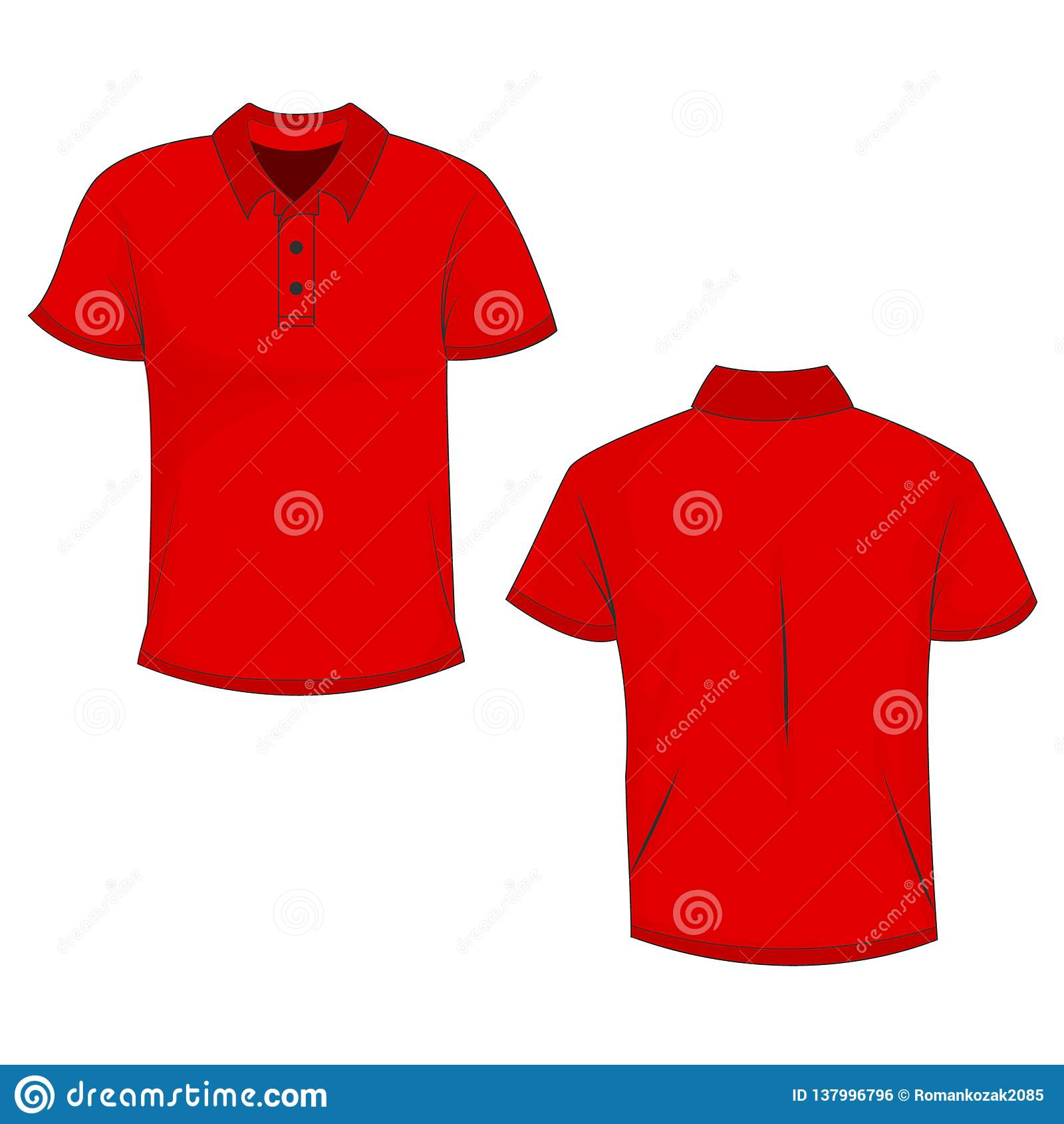 0e39cf62 Red Polo T-shirt Mock Up/template, Front And Back View, Isolated On ...
