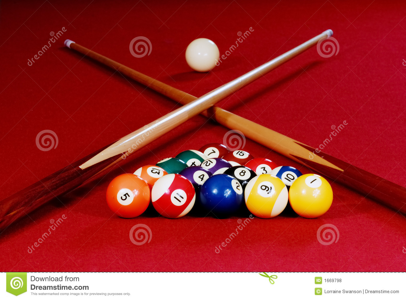 Red pool table stock photo image of play shot break - Pool table images ...