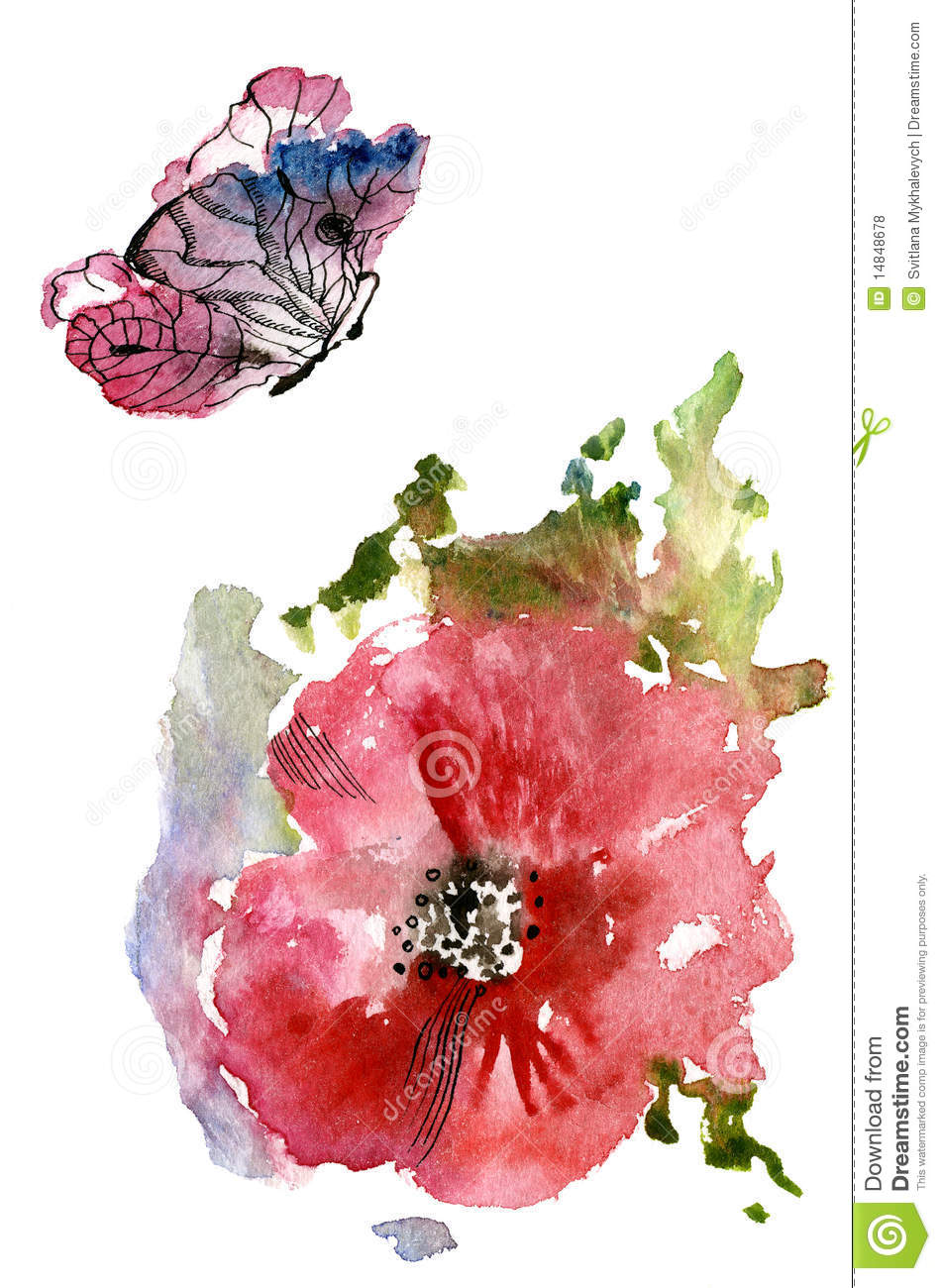 Red Poppies and a butterfly