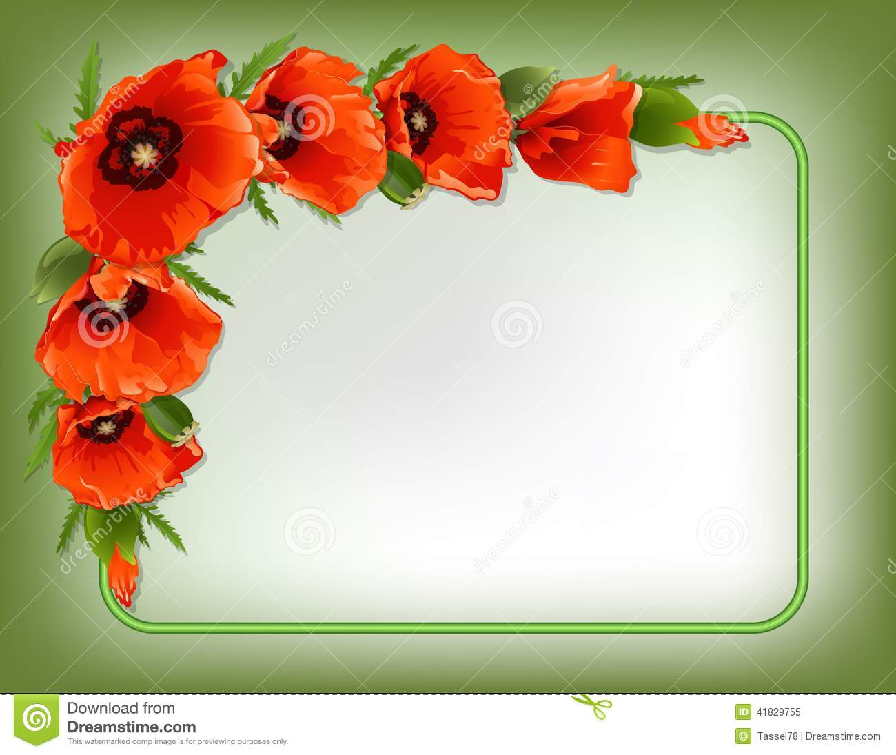 Red Poppies Floral Frame, Vector Stock Vector - Image ...