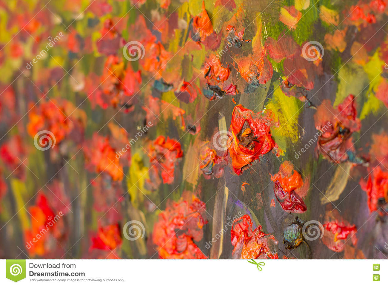 Red Poppies Flowers Painting Macro Close Up Fragment Stock Photo