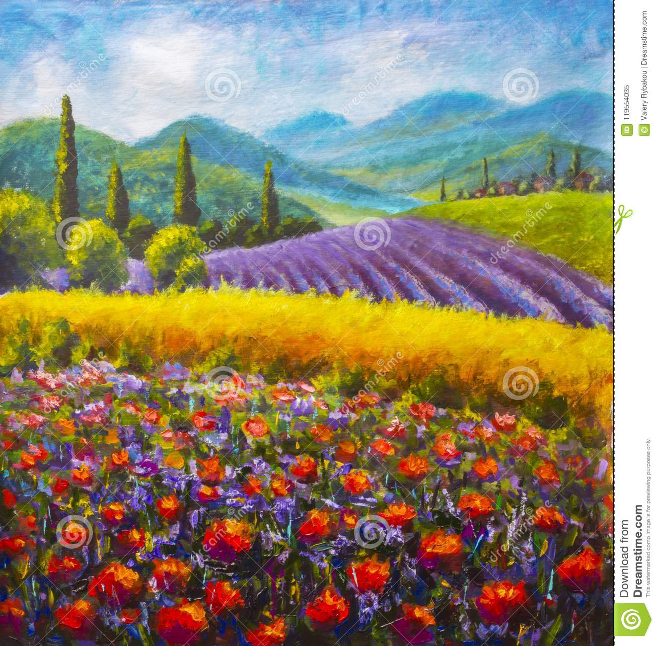 Red poppies painting. Italian summer countryside. French Tuscany. Field of yellow rye. Rural houses and high cypress trees on hill