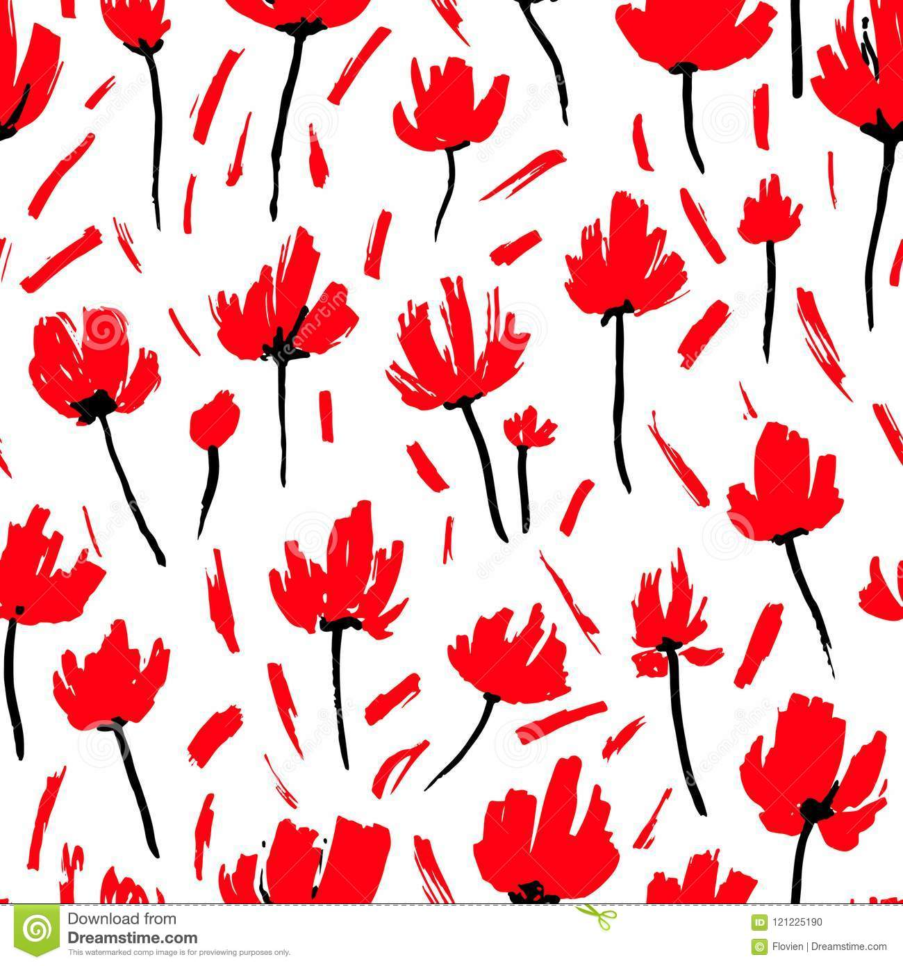 Red Poppies Seamless Pattern Simple Floral Background For