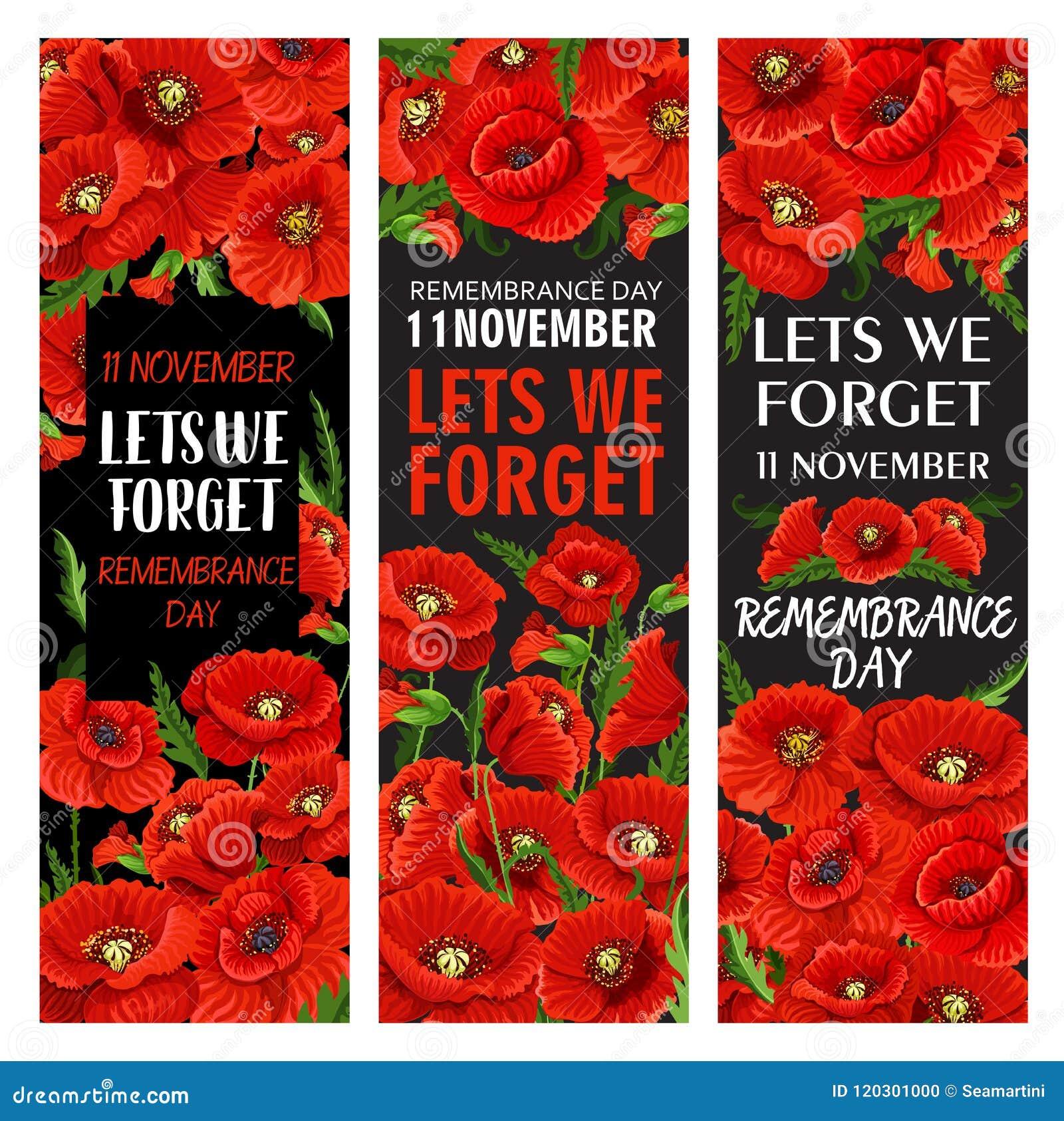 Red Poppy Flower Banner For Remembrance Day Design Stock Vector