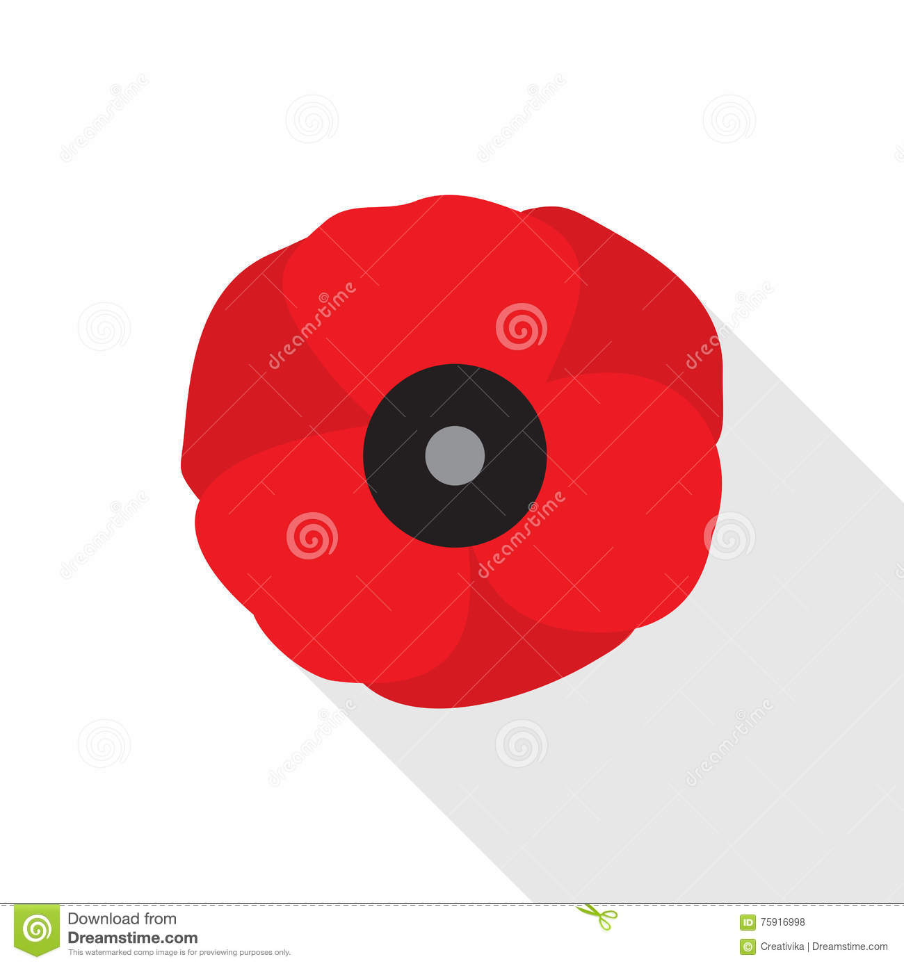 Red Poppy Flower Flat Icon Stock Vector Illustration Of Graphic