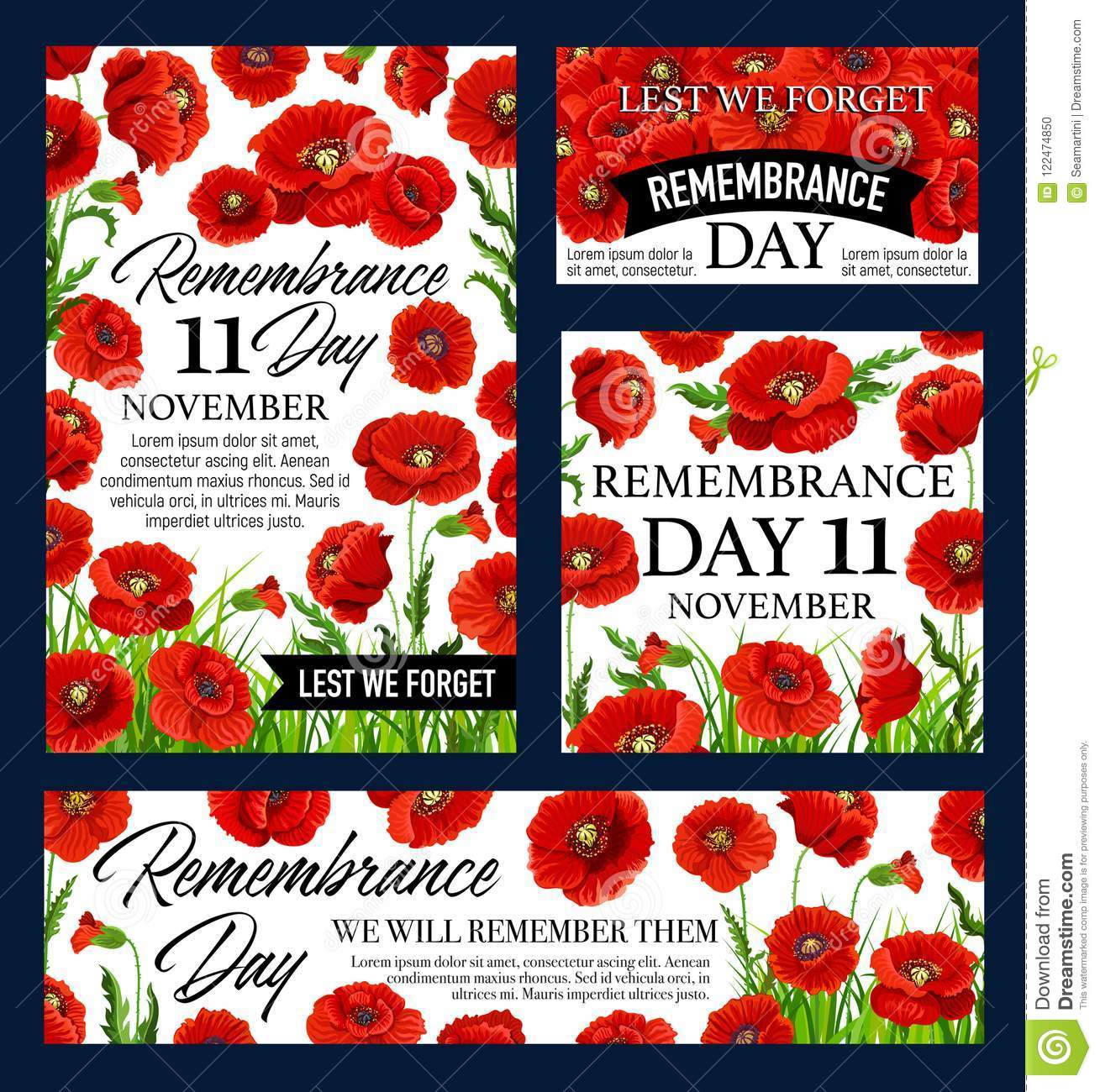 Red poppy flower remembrance day memorial banner stock vector download red poppy flower remembrance day memorial banner stock vector illustration of lest history mightylinksfo