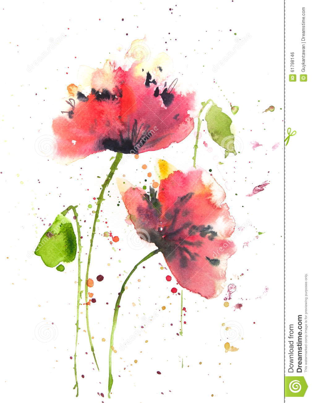 Red poppy flowers modern art style watercolor painting for Modern flower paintings