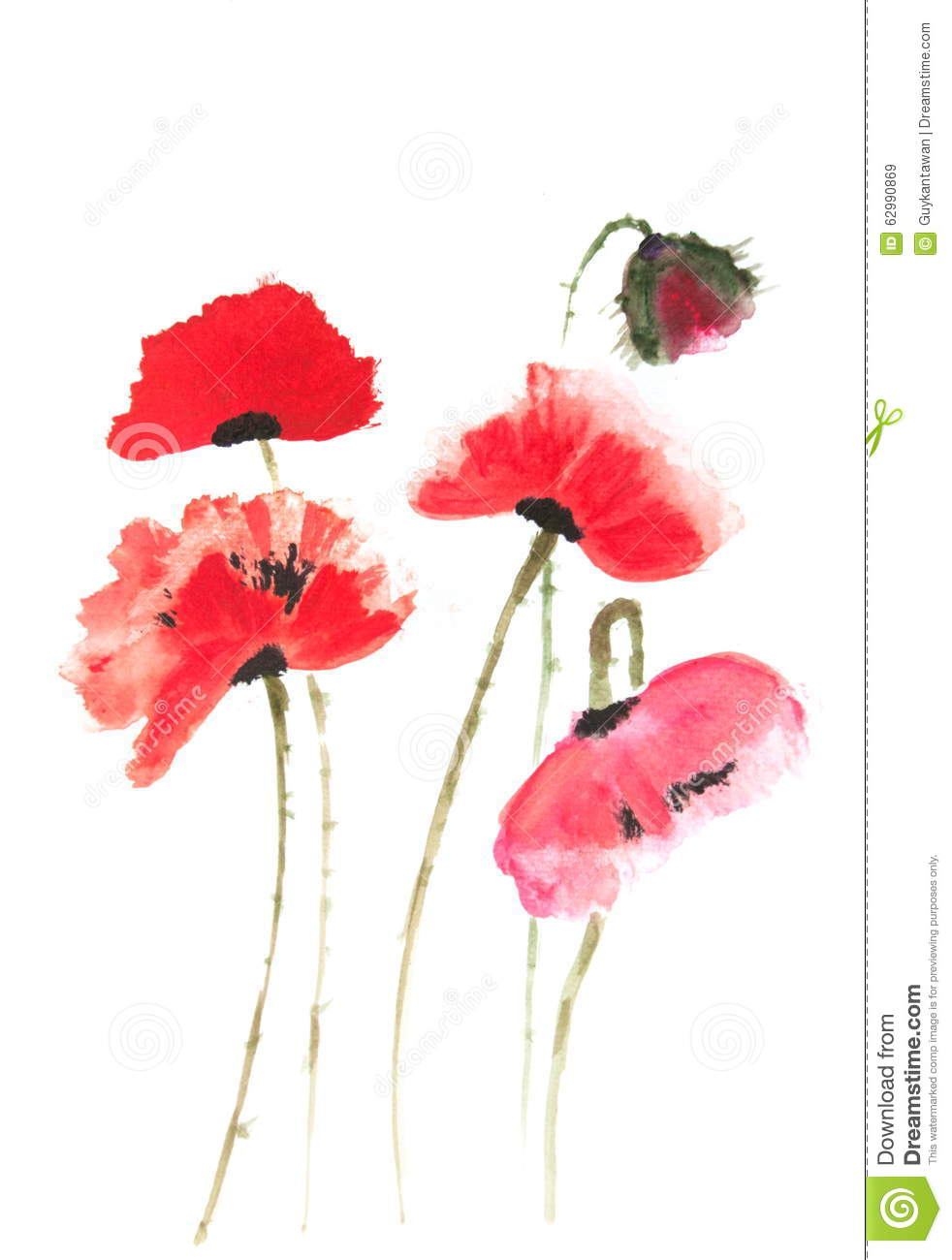 Red Poppy Flowers Painting Acrylic Color Painting Stock