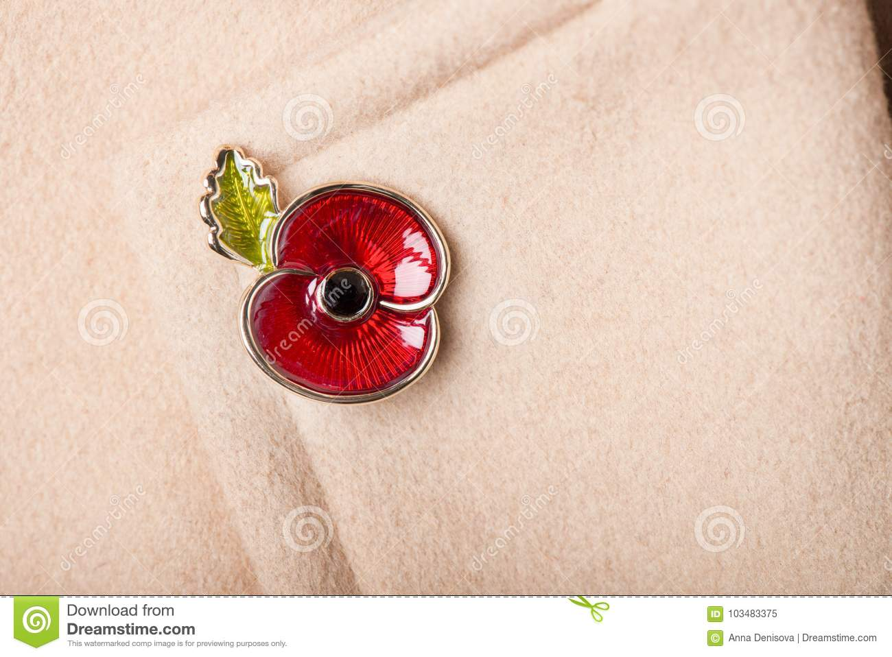 Red Poppy Pin As A Symbol Of Remembrance Day Stock Image Image Of