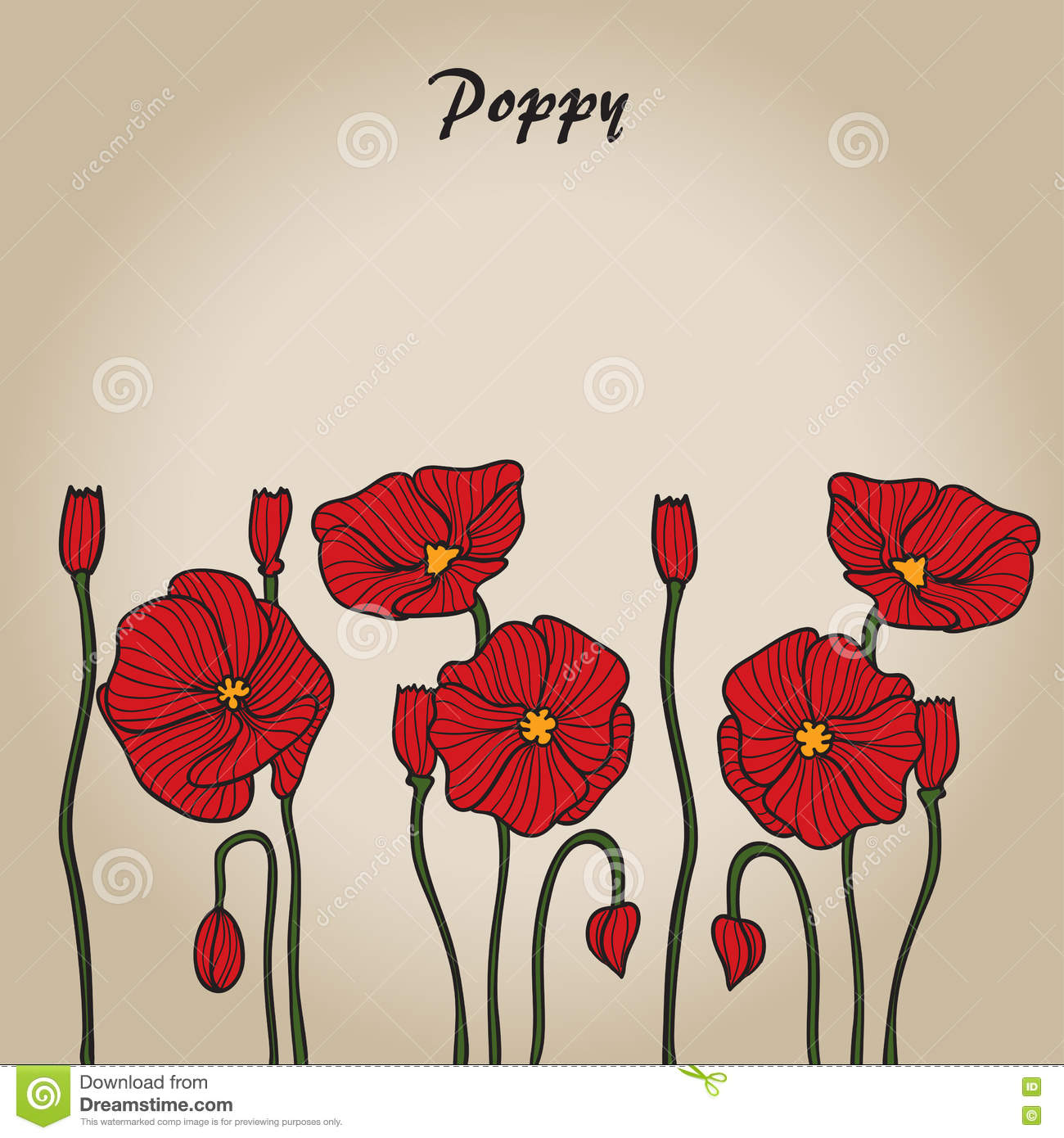 Red poppy sketch stock vector image 72829468 - Dreaming about the color red ...