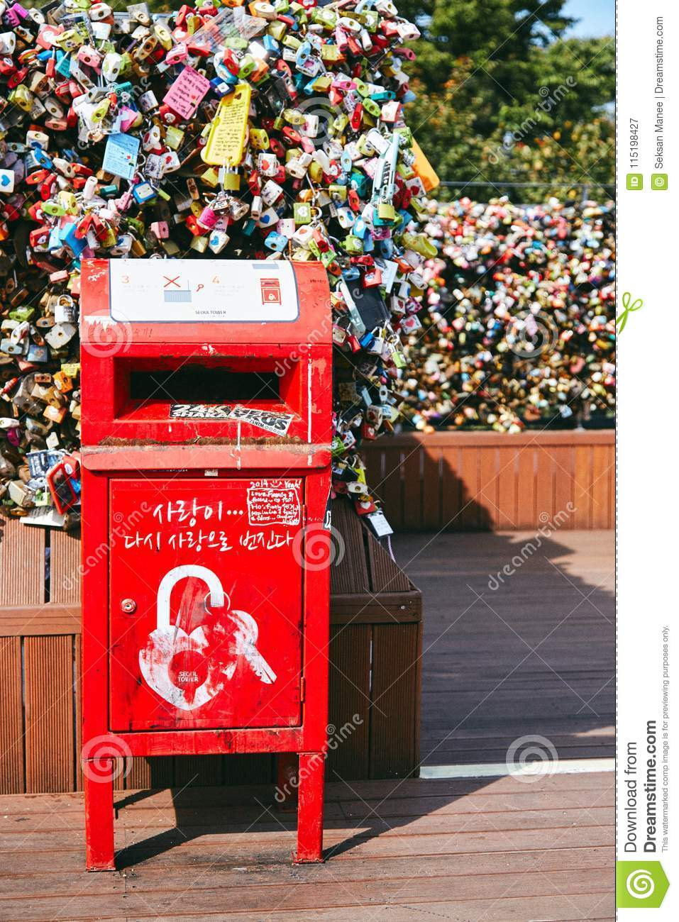seoul south korea october 8 2014 the red post box of letter in