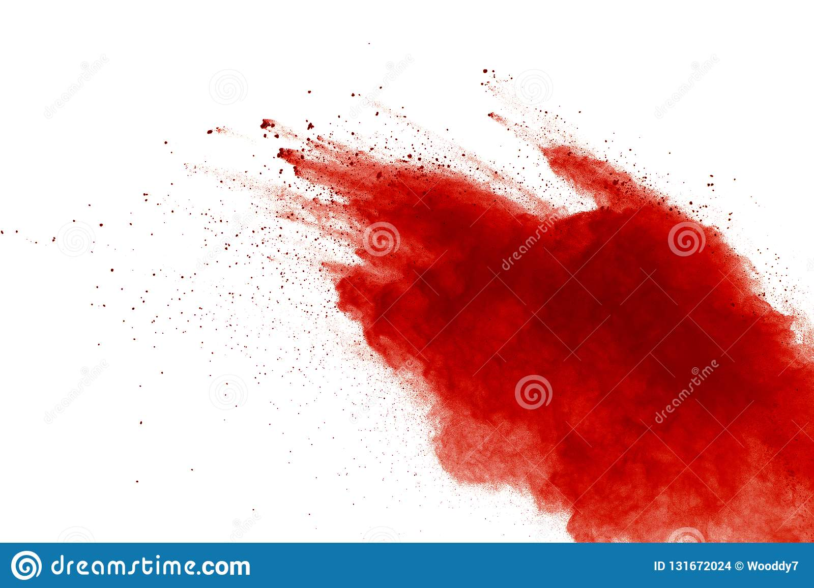 Red powder explosion on white background. Paint Holi
