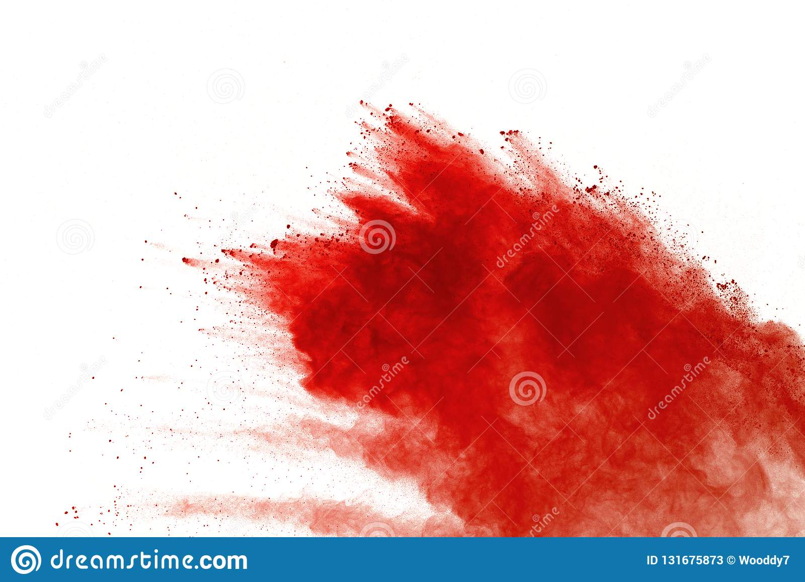 Red powder explosion on white background. Paint Holi