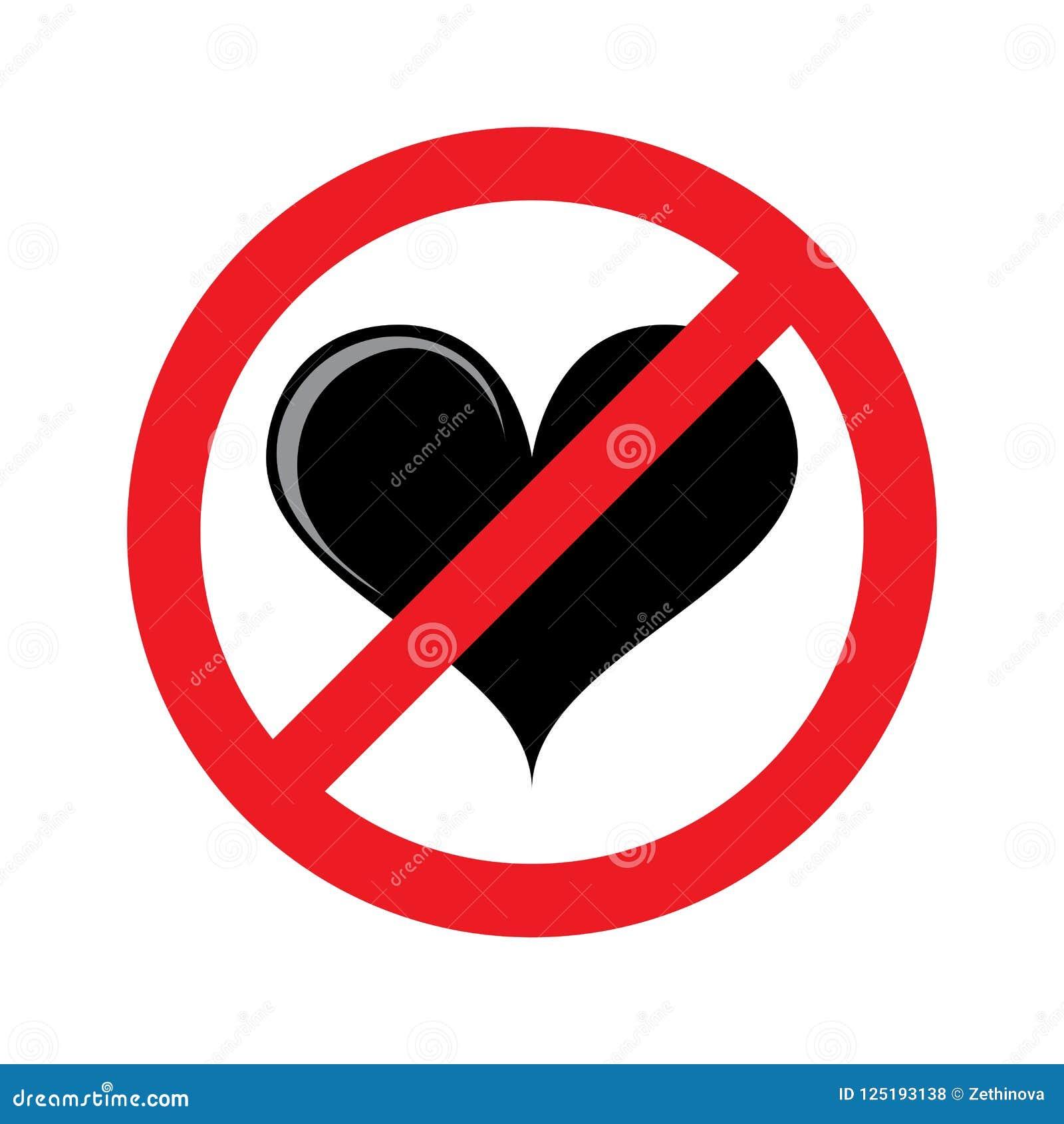 No Heart No Love Isolated Symbol Stock Illustration