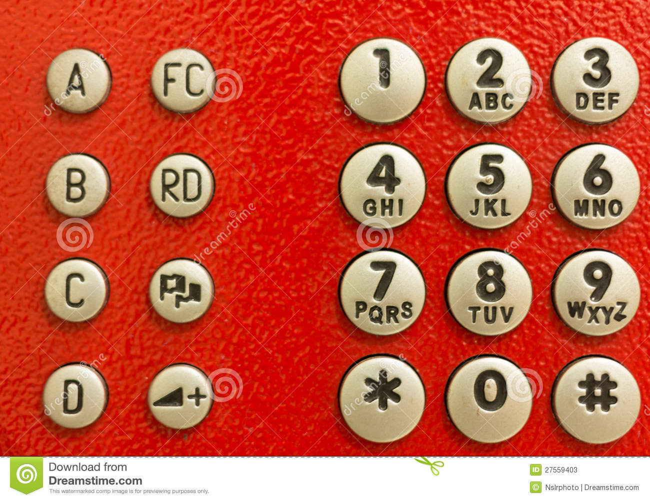 Red public phone dial pad stock image  Image of dial - 27559403