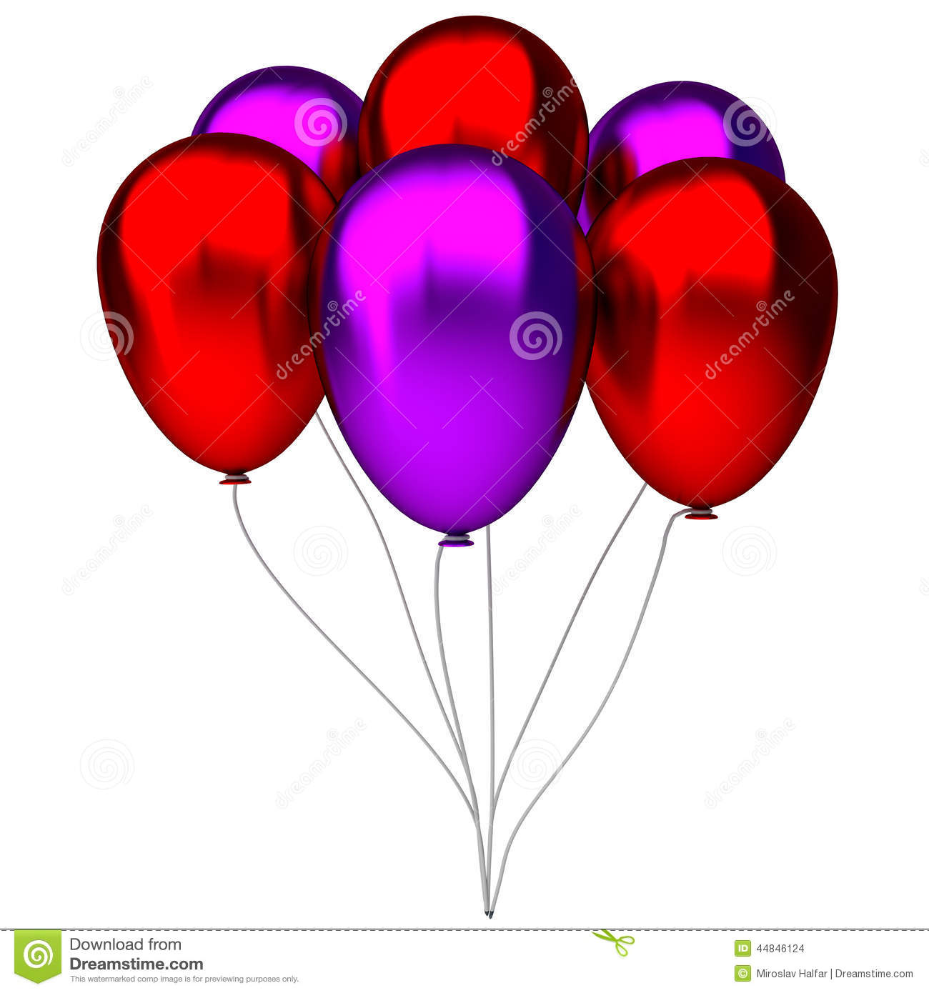 Red And Purple Birthday Balloons Stock Illustration