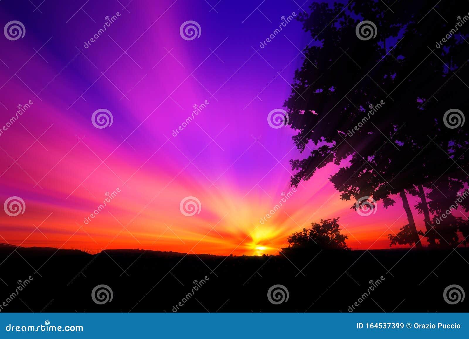 Red Purple Sunset Stock Image Image Of Landscape Dusk 164537399