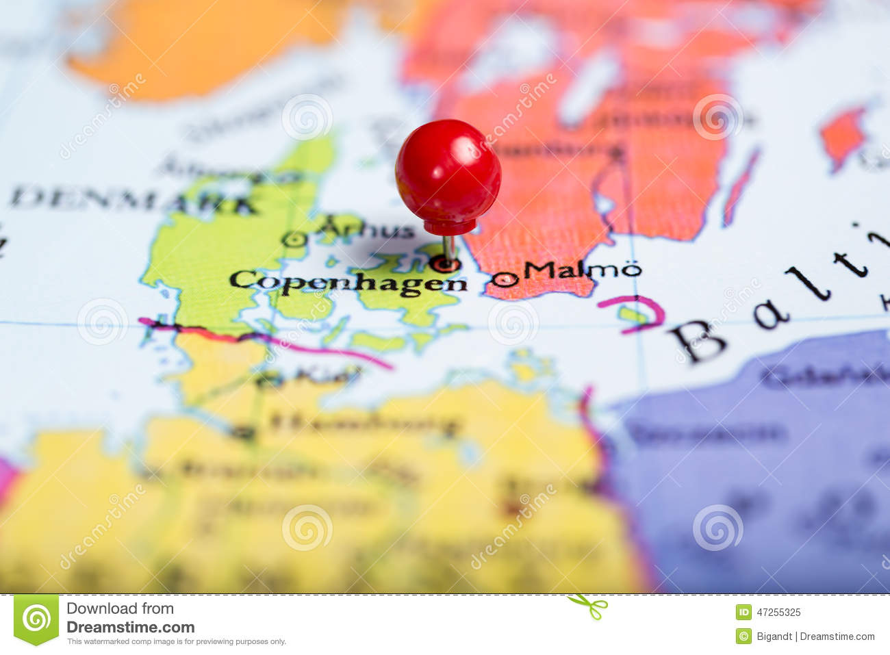 Red Push Pin On Map Of Denmark Stock Image Image of thumbtack