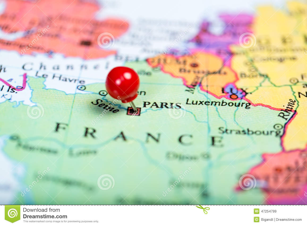 Paris On Europe Map.Red Push Pin On Map Of France Stock Image Image Of Macro Europe