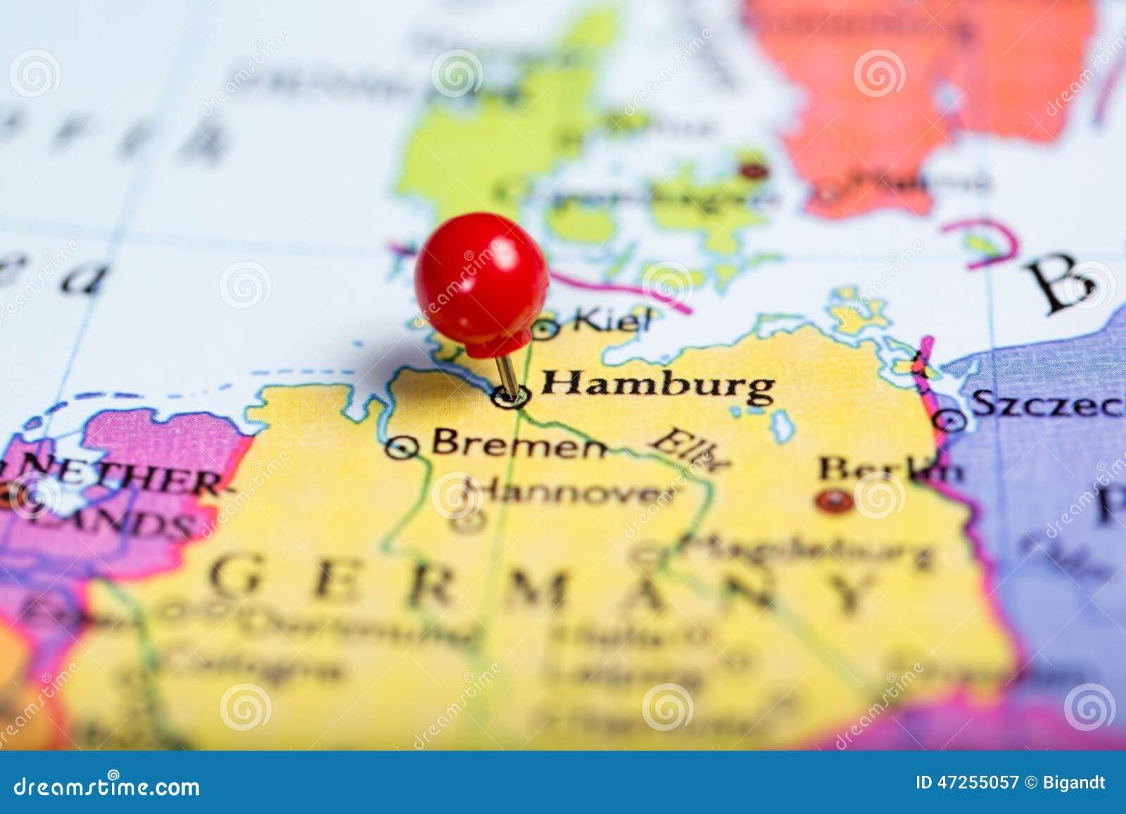 Map Of Germany Hamburg.Red Push Pin On Map Of Germany Stock Image Image Of Hamburg