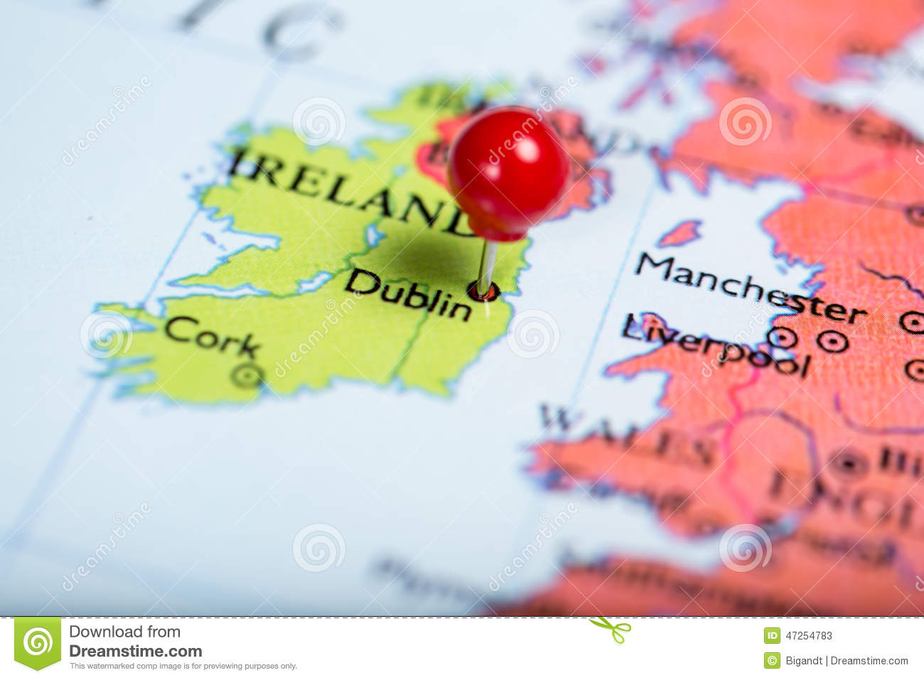 Dublin On Map Of Ireland.Red Push Pin On Map Of Ireland Stock Image Image Of Push Dublin