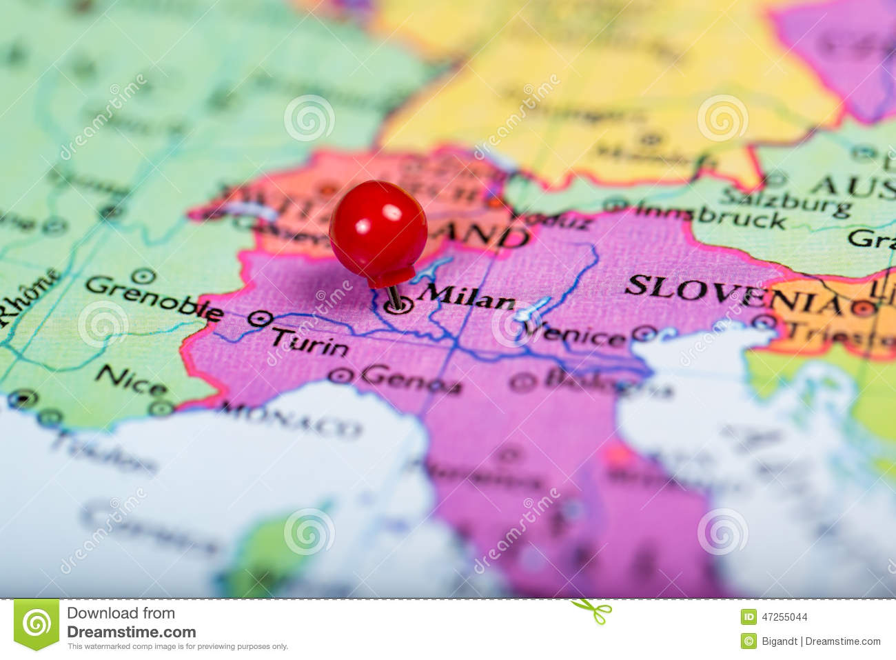 Red Push Pin On Map Of Italy Stock Photo Image Of Location Geography 47255044