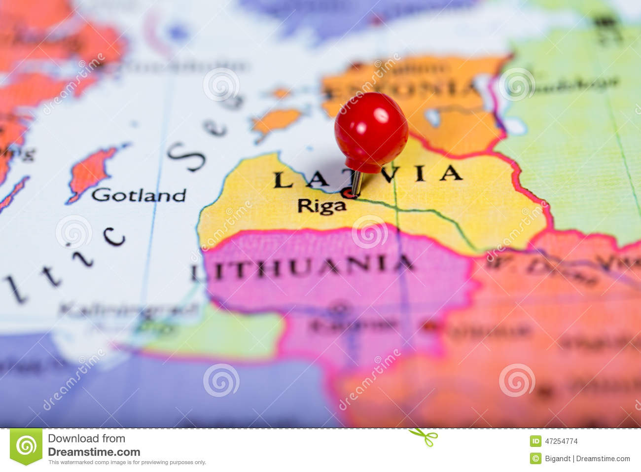 Picture of: Red Push Pin On Map Of Latvia Stock Photo Image Of Geography Riga 47254774