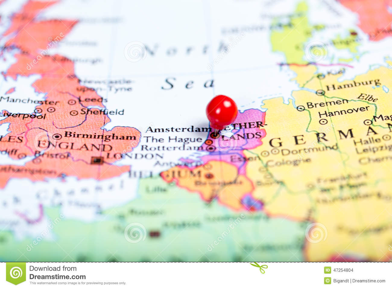 Red Push Pin On Map Of Netherlands Stock Photo Image Of Close Geography 47254804