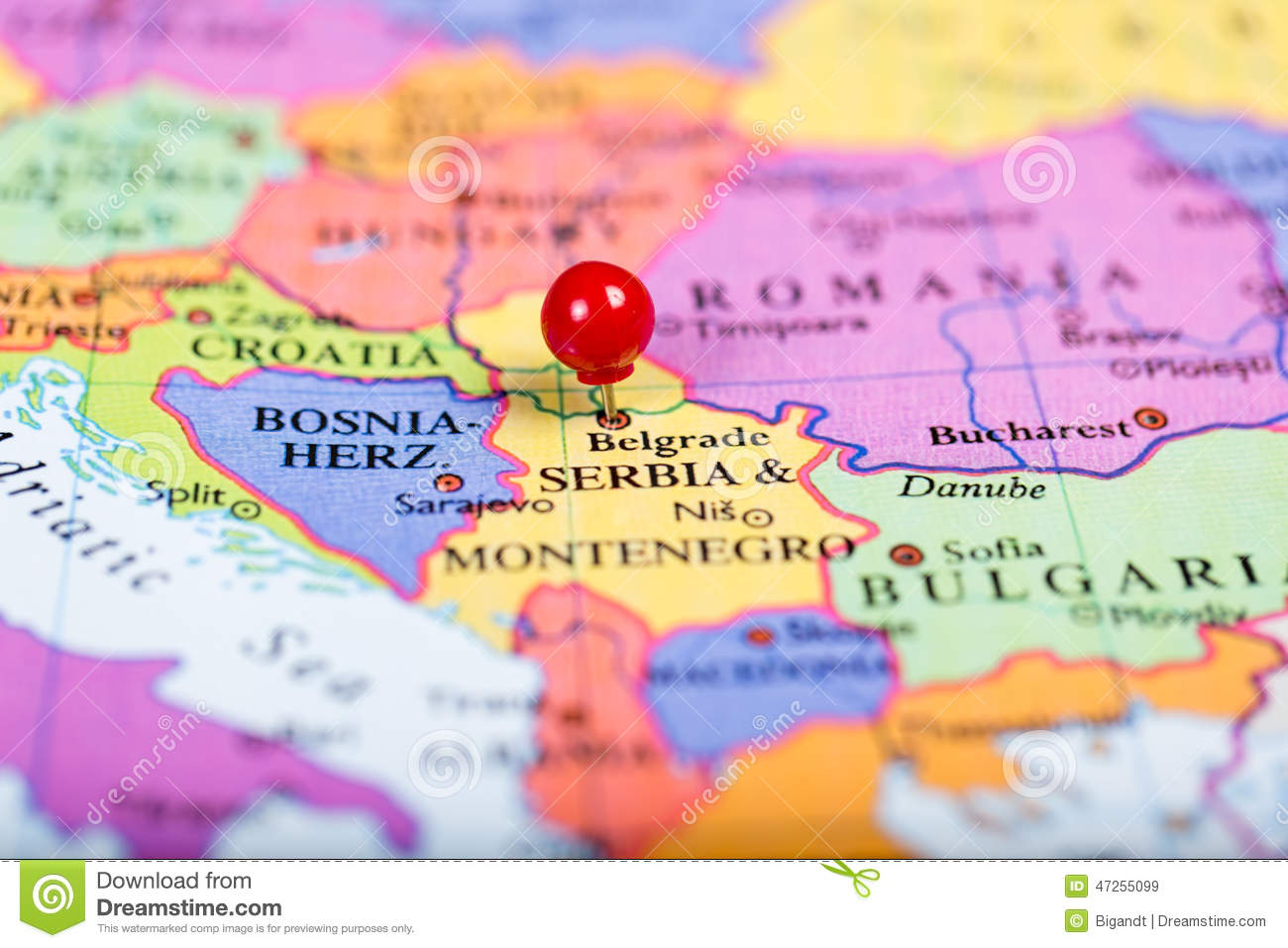 Red Push Pin On Map Of Serbia Stock Image Image Of Europe Serbia