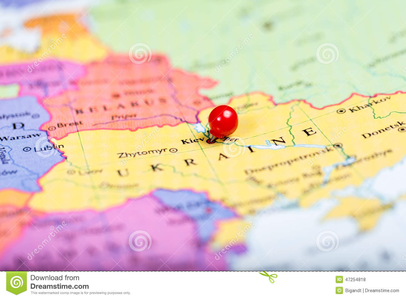 Red Push Pin On Map Of Ukraine Stock Photo Image of location push