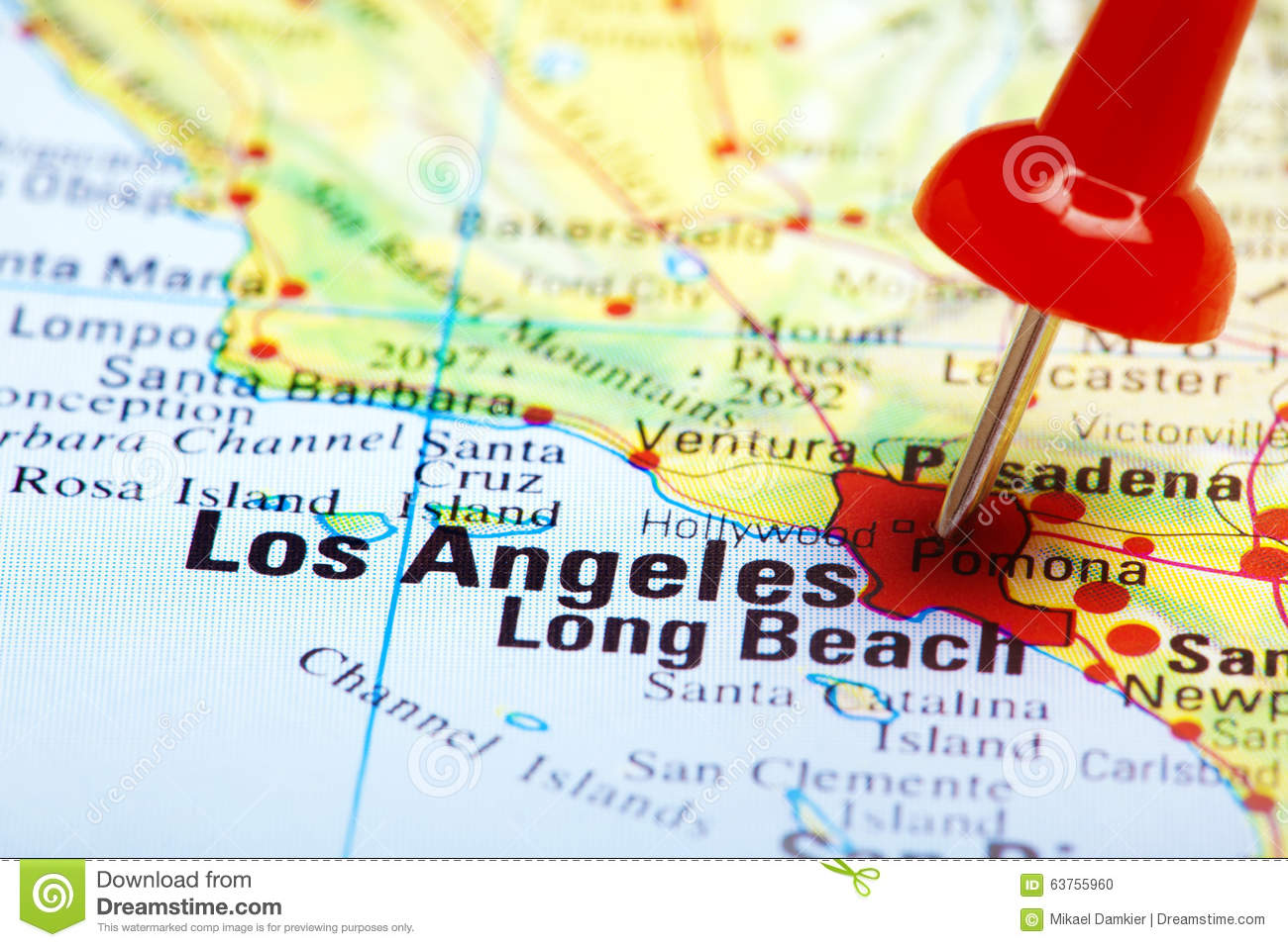 Red Push Pin Pointing At Los Angeles Stock Photo Image of