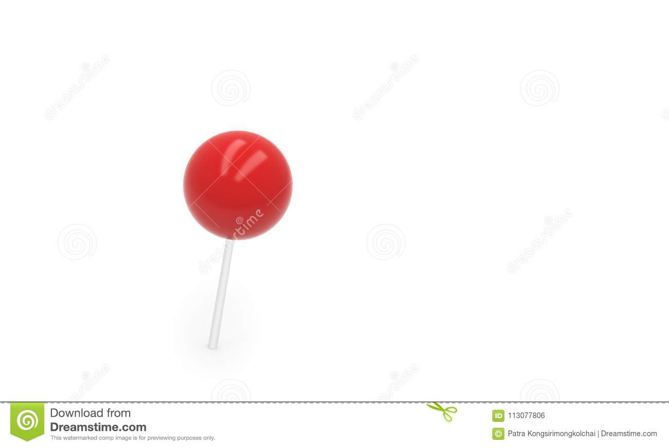 Red push pin, thumbtack isolated on white background, 3d