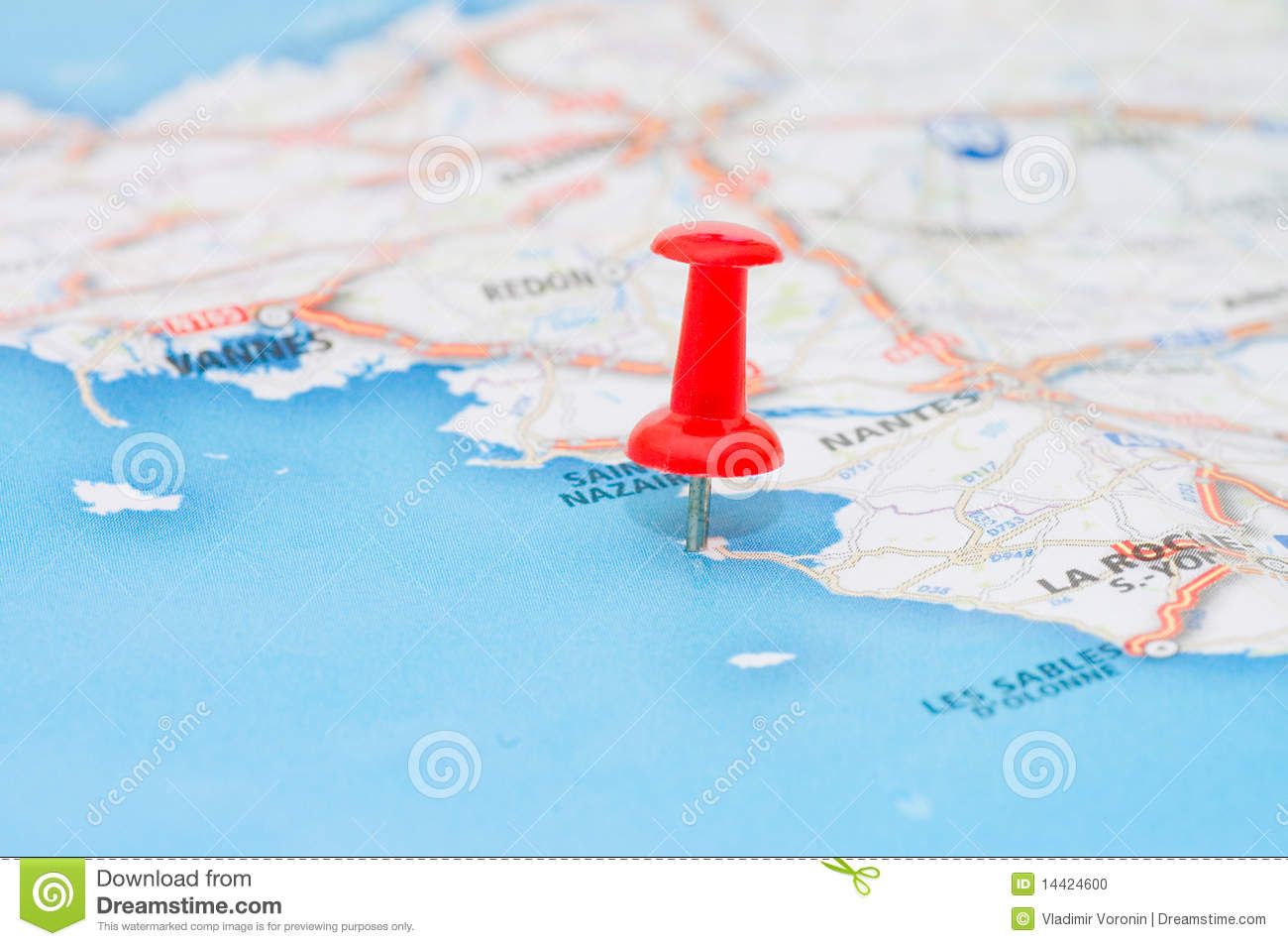 Red Pushpin Marking A Location Stock Photo - Image of city, lost: 14424600