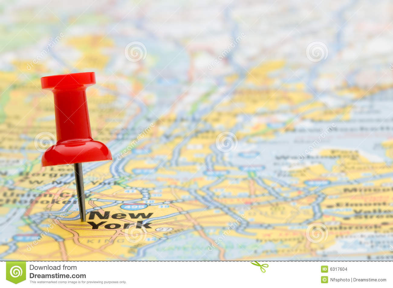 Map Of New York In The USA With Pushpin Stock Photo Image - New york city map usa