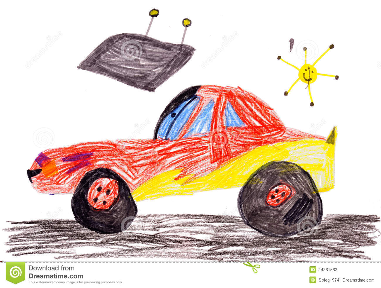 Red Racing Car Child S Drawing Stock Illustration Illustration Of