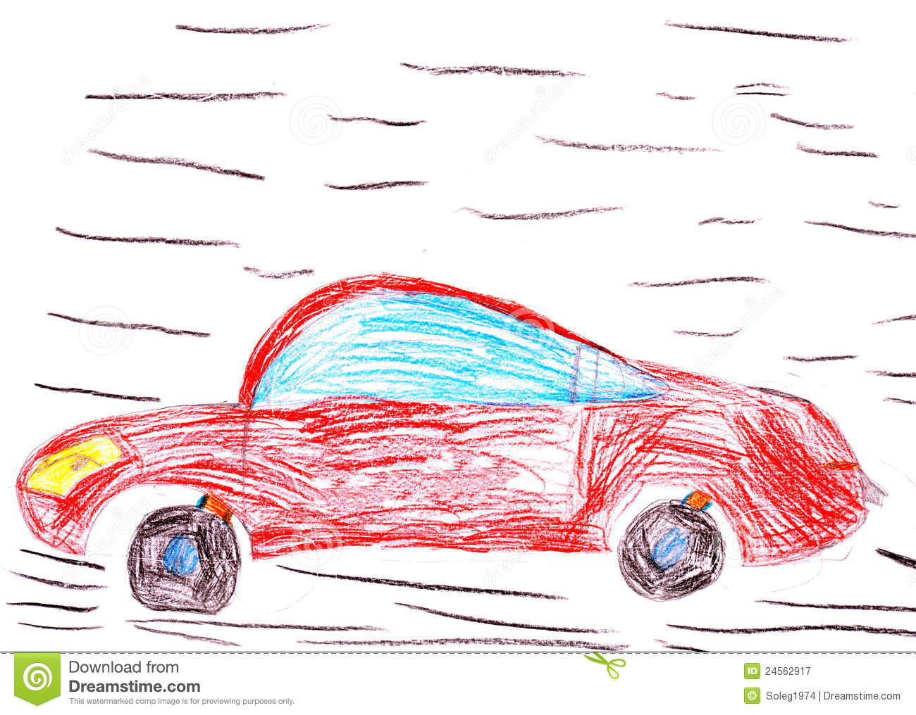 Red Racing Car. Child's Drawing Royalty Free Stock Photography - Image: 24562917