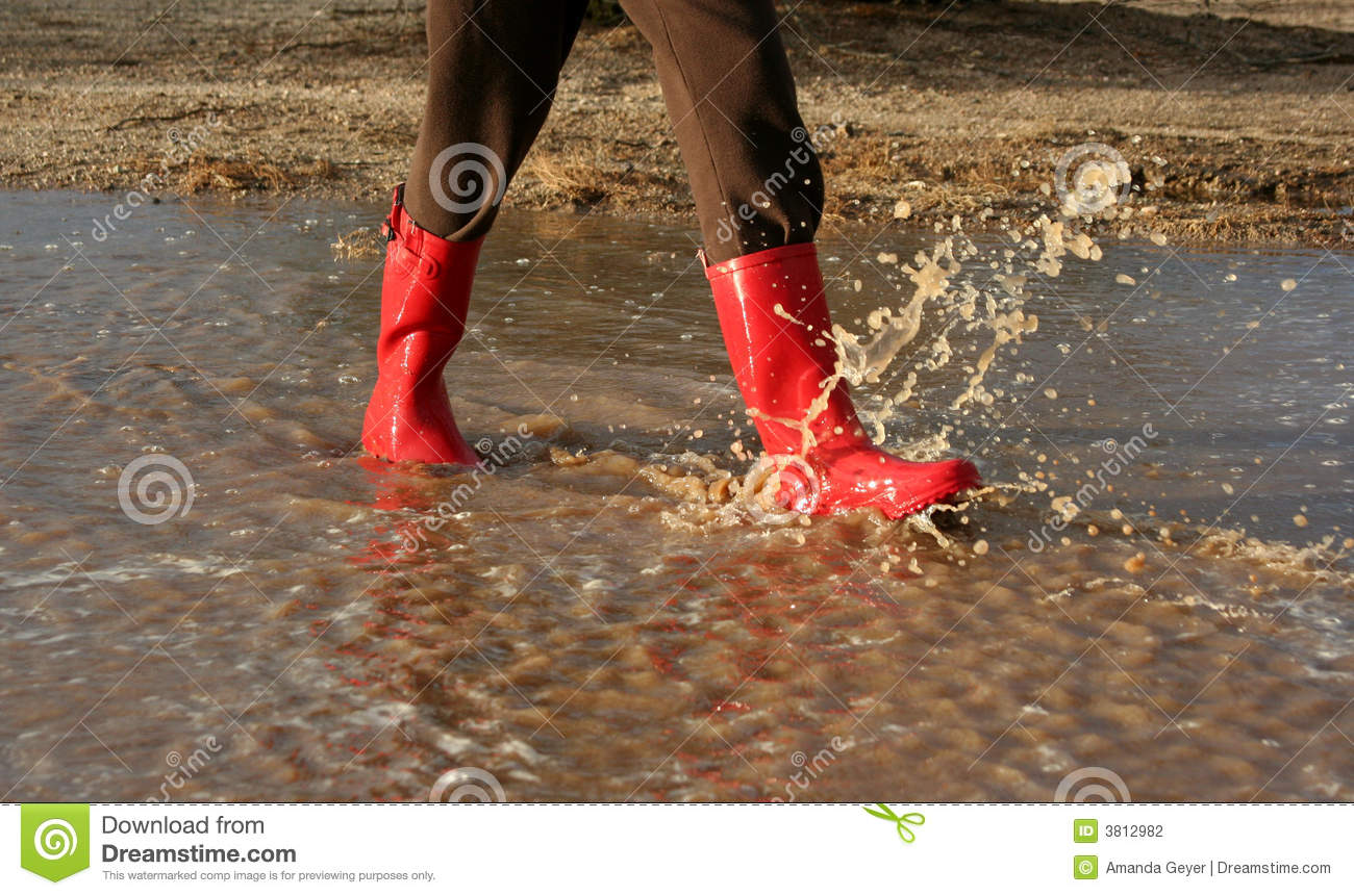 Red Rain Boots In Puddle Stock Photography - Image: 3812982