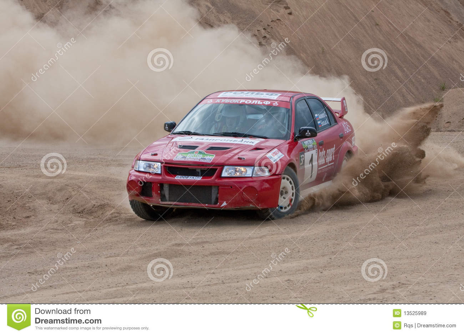 Red Rally Car Mitsubishi Lancer Editorial Stock Image - Image of ...