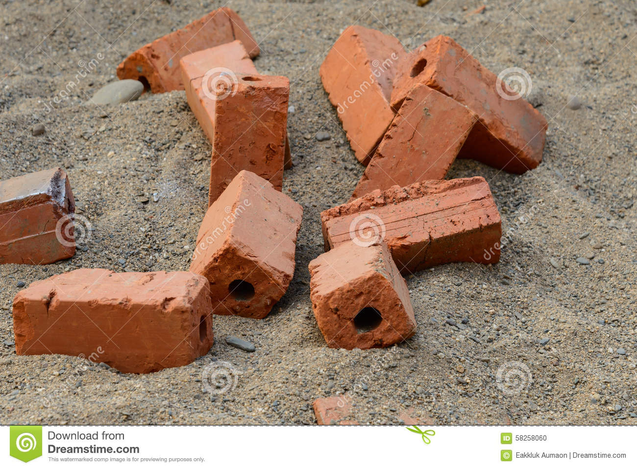 Red Raw Brick On Sand For Building Instruction Stock Photo Image