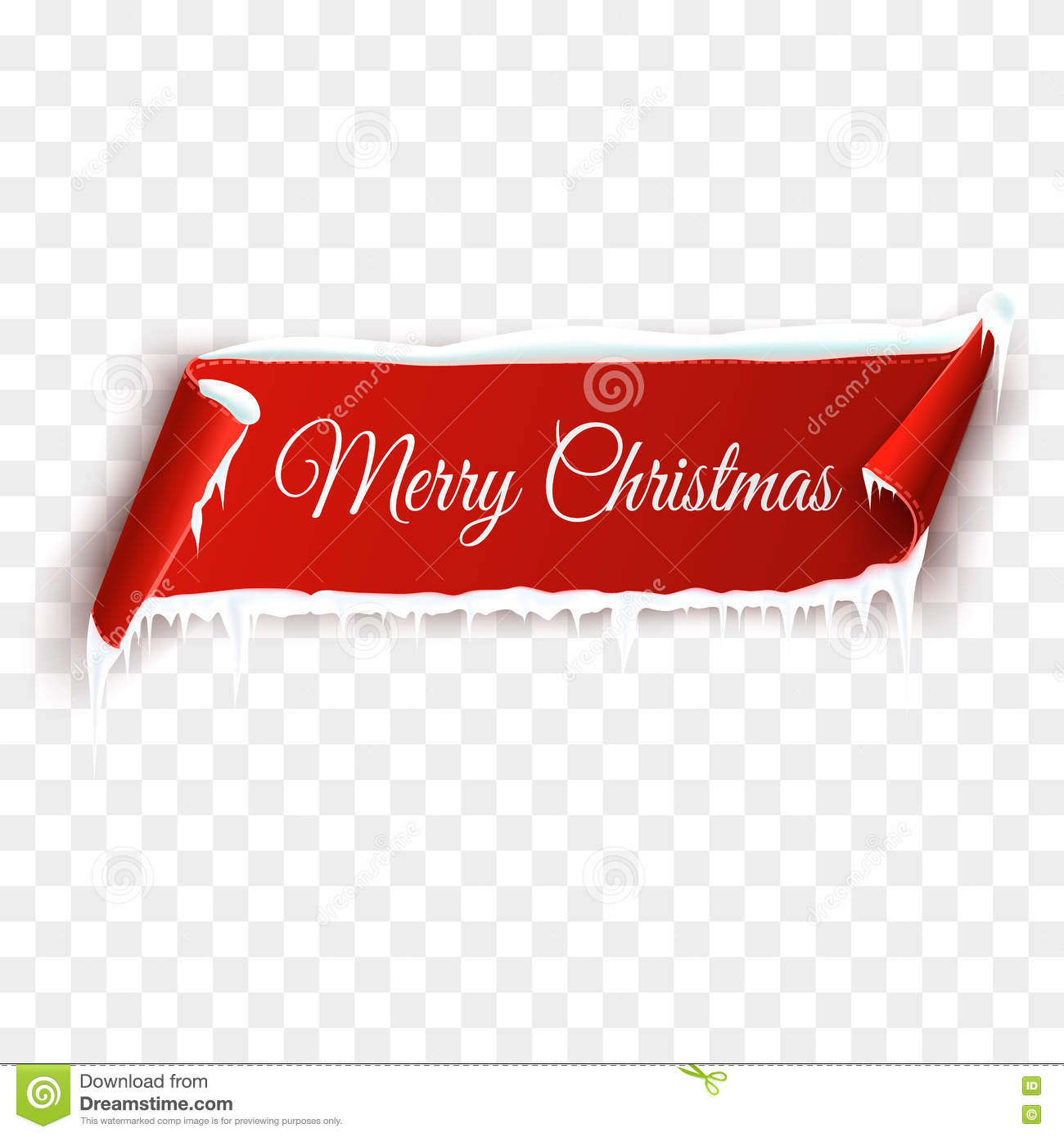 red realistic detailed curved paper merry christmas banner with snow and icicles isolated on transparent background