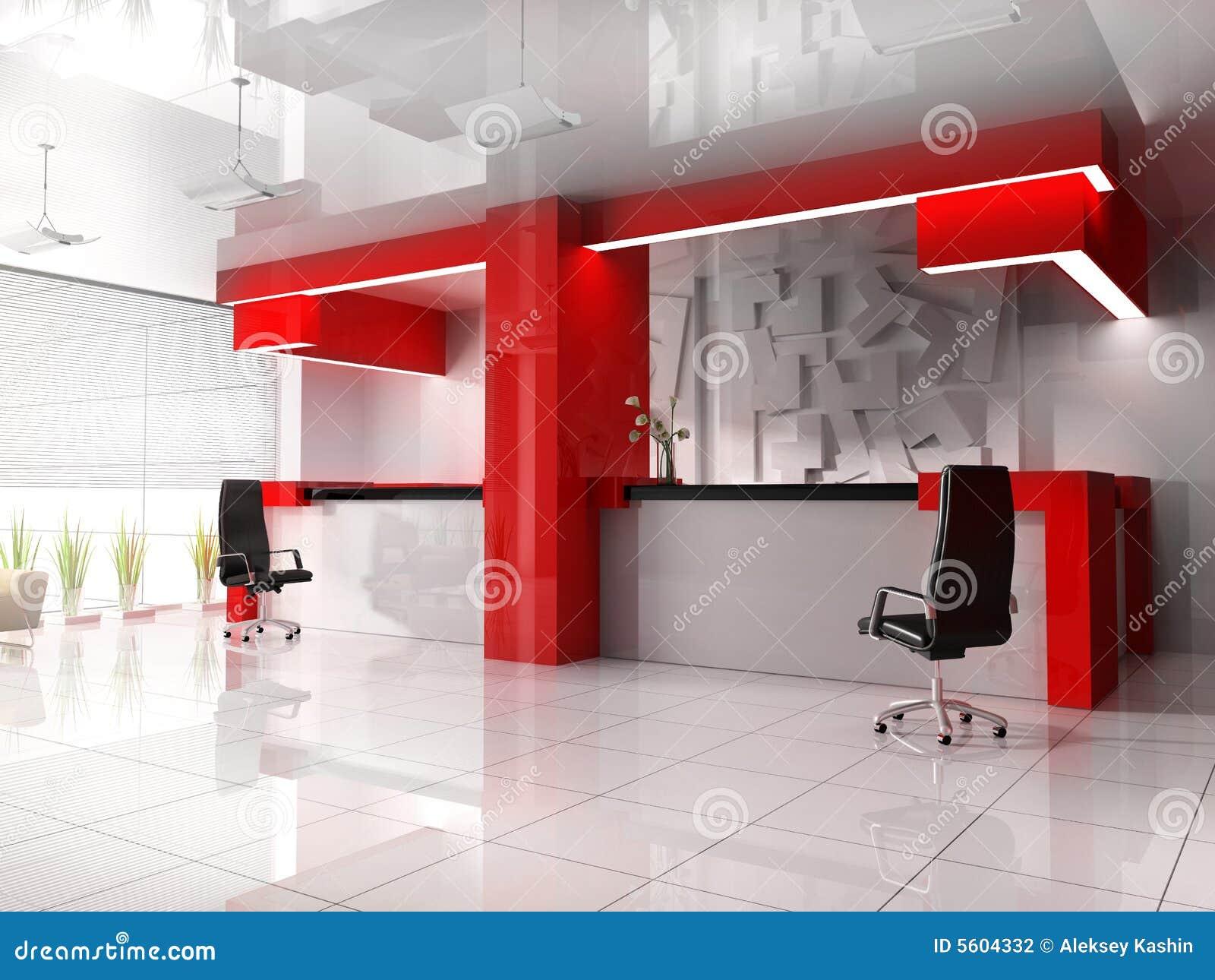 Red reception in modern hotel stock photography image for Fotos de oficinas modernas